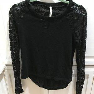 Black lightweight sweater w/ lace back. Lovemarks